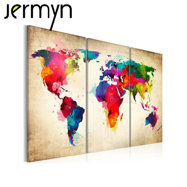 big 3 piece wall art world map oil painting decorative panels canvas prints poster for living