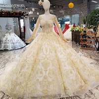 LS369470 golden lace shiny wedding dress luxury long tulle sleeve see through back light champagne beaded wedding gown ball gown