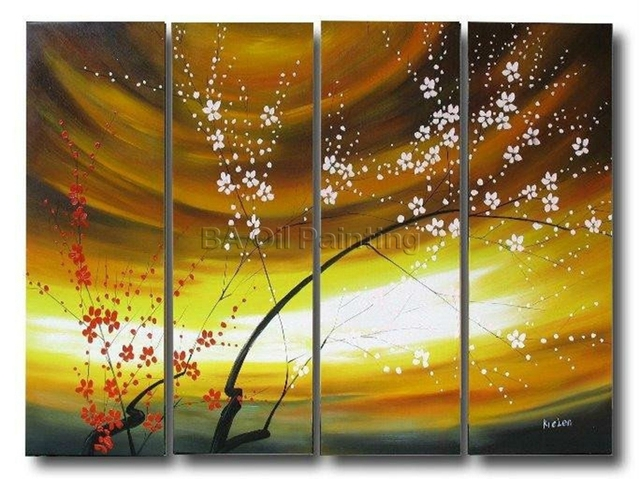 Free Shipping handpainted cherry blossom pictures 4 piece modern ...