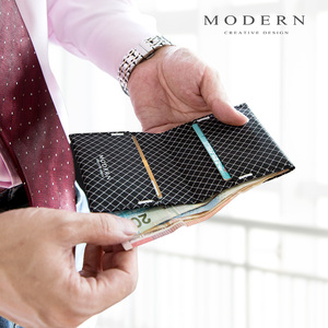 Image 4 - מודרני Ripstop בד Bifold גברים ארנק סופר דק כרטיס מחזיק מכונת רחיץ עמיד ועמיד למים מעצב ארנקים מפורסם