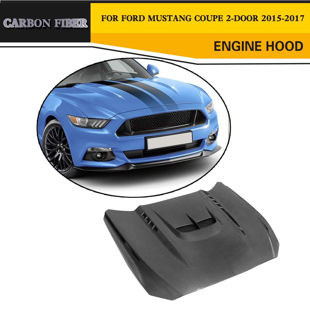 Carbon Fiber Engine Hood Auto Car-Styling Bonnet for Ford Mustang Coupe Convertible 2-Door 2015-2017 airspeed carbon fiber steering wheel emblem for ford mustang car stickers car styling 2015 2016 2017 auto accessories