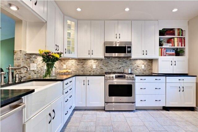 2017 бесплатная индивидуальный дизайн современный кухонный гарнитур кухни белый ПВХ мембрана кухонные шкафы настольная