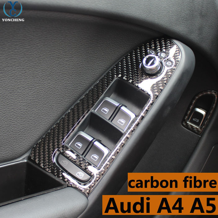 Adapt to Audi A4 A5 special modified carbon fiber interior trim button door decorative frame Audi A4 A5 modified 3D sticker