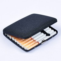 Fashion Black Frosted Cigarette box metal (hold 20 pcs) Cigarettes case cigarette cases Cigarette Accessories
