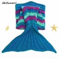 Mermaid Tail Blanket Yarn Knitted Handmade Crochet Mermaid Blanket Kids Throw Bed Wrap Super Soft Sleeping