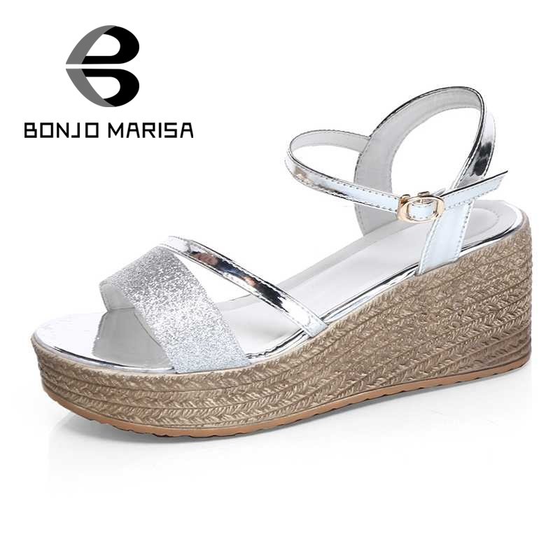 BONJOMARISA Gold Silver Women Sandals High Heel Wedges Open Toe Platform Shoes For Summer Woman Size 35-40 phyanic 2017 gladiator sandals gold silver shoes woman summer platform wedges glitters creepers casual women shoes phy3323