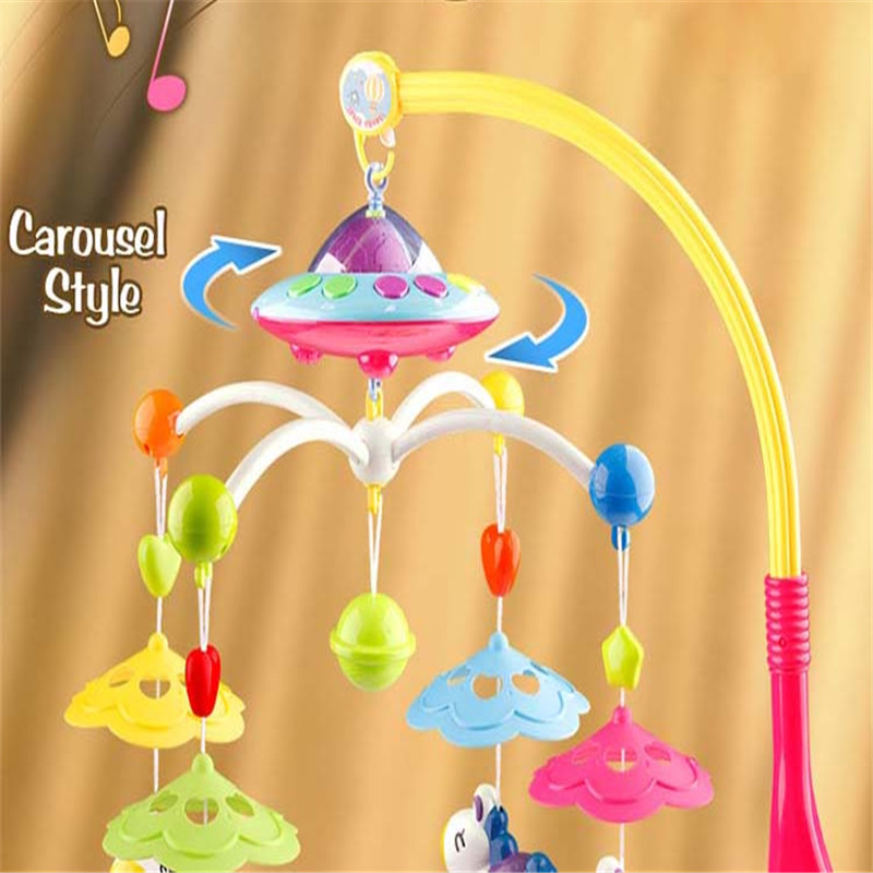 Crib Mobile Musical Bed Bell 0-12 Months Baby Toys For Childern Plane Rattles Projection Cartoon Colorful Early Learning Kid baby musical crib mobile bed bell baby hanging rattles rotating bracket projecting toys for 0 12 months newborn kids gift