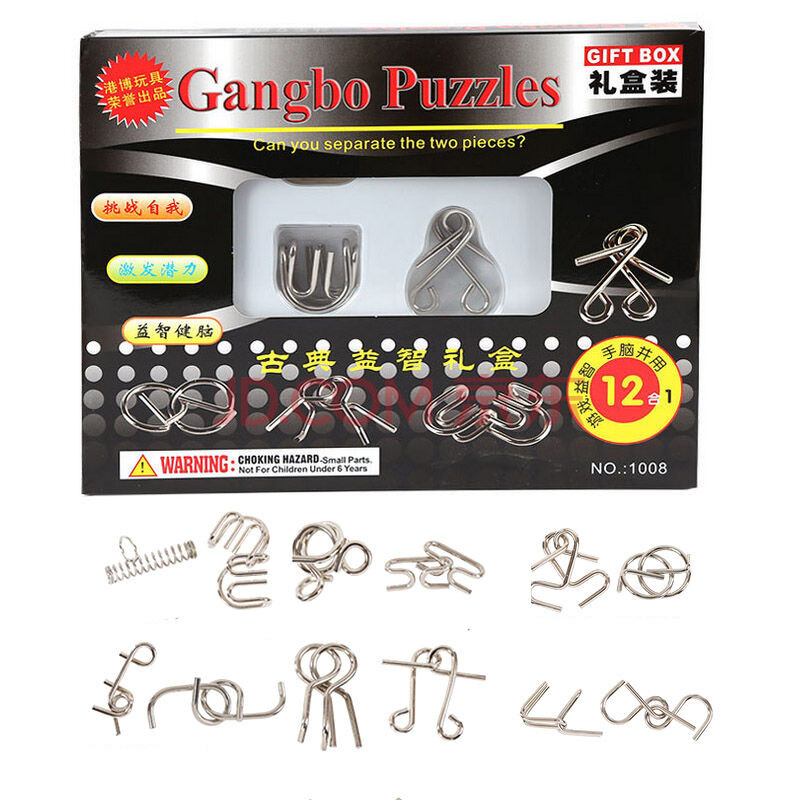 IQ Test Mind Game Toys Brain Teaser Metal Wire Puzzles Magic Trick Toy, Metal IQ Puzzle Set of 12 For Adults And Kids metal puzzle iq mind brain game teaser square educational toy gift for children adult kid game toy
