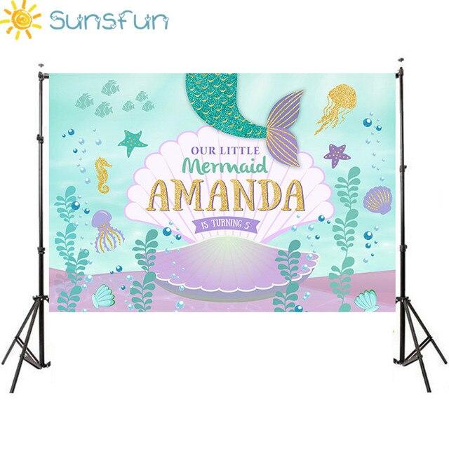 Sunsfun Fondo de estudio de fotografía personalizado de vinilo de 7x5 pies, Fondo de fotografía bajo el mar, Little Mermaid Shell, recién nacido