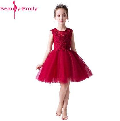 Beauté Emily princesse robe de bal rouge fleur robe 2019 genou longueur première Communion robes filles robe de reconstitution historique enfants robe de bal