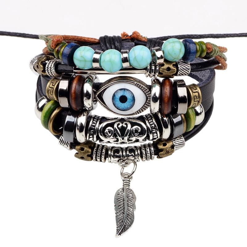 New Punk Bead Turkish Evil Eye Bracelets For Women Men Wristband Female Owl Leather Bracelet Synthetic Stone Vintage Jewelry