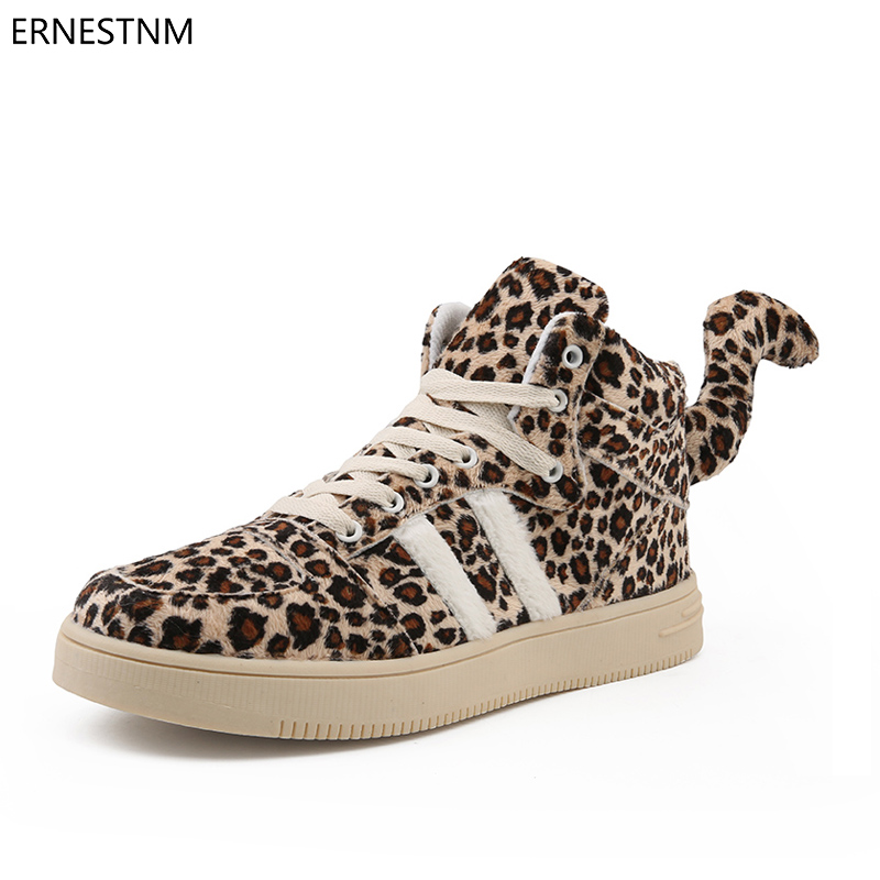 ERNESTNM 2018 Women Shoes Women Fashion Platform Sneakers Women Suede Leather Leopard Sewing Flat Lace-Up Shoes Zapatos Mujer