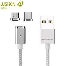 Wsken micro usb tipo c cabo magnético 2 em 1 mini 2 carregador magnético cabo de carregamento rápido para sansung s7 s8 nota 8 hauwei usb c