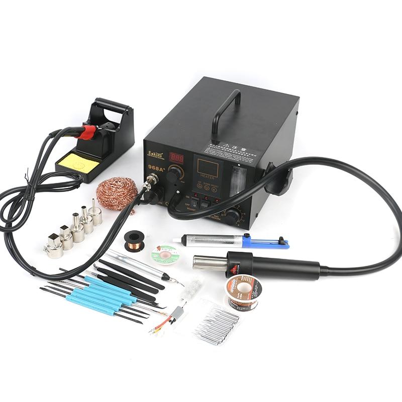 968A+ 3 In 1 LCD Regulation Soldering Station SMT SMD Hot Air Gun Smoke Vacuum BGA Rework Welding Station For Phone PCB Repair