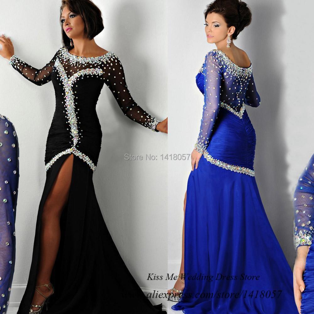 Nouvelle mode Couture noir Royal Blue manches longues soirée robe cristaux 2015 sirène robes de bal