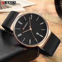 CURREN Brand Mens Watches Mesh Steel Ultra Thin Quartz Watch Men Luxury Business Wristwatch Relogio Masculino