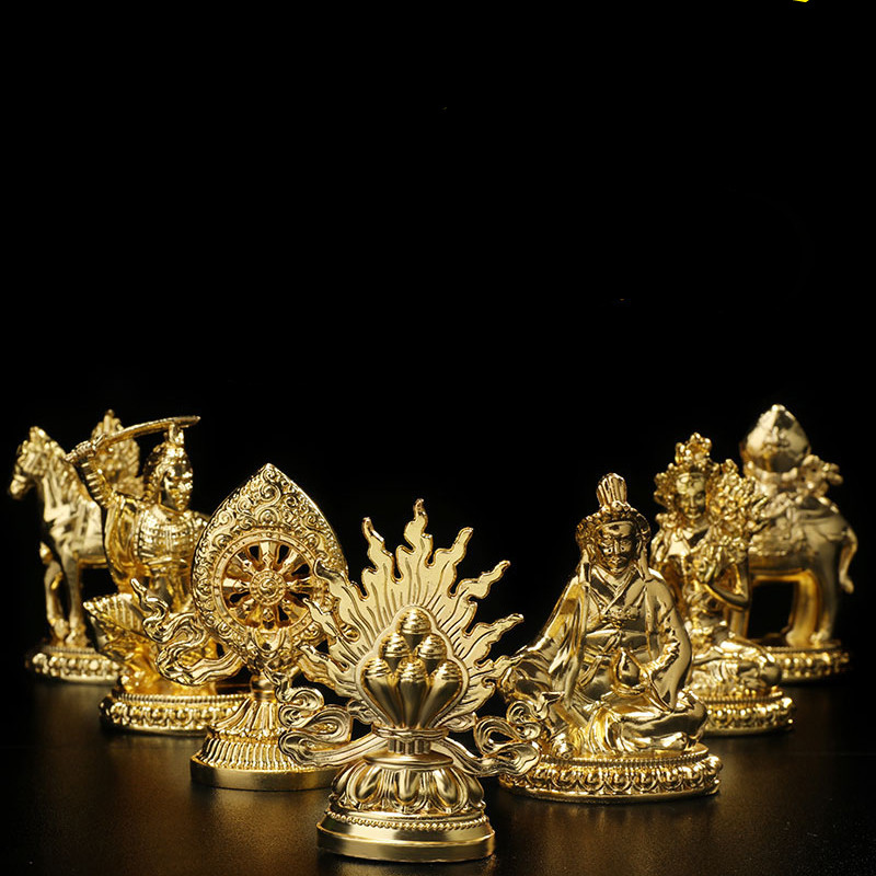 7pcs/set Gold Plating Tibetan Buddhist Supplies Seven Treasured Symbol Temple/Home/Office Putting Decorate Craft Statues
