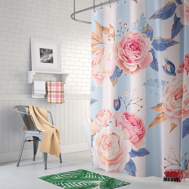 Baby Pink Blue Romantic Wedding Decoration Shower Curtain Printed Polyester Fabric Bathroom With Hooks Free