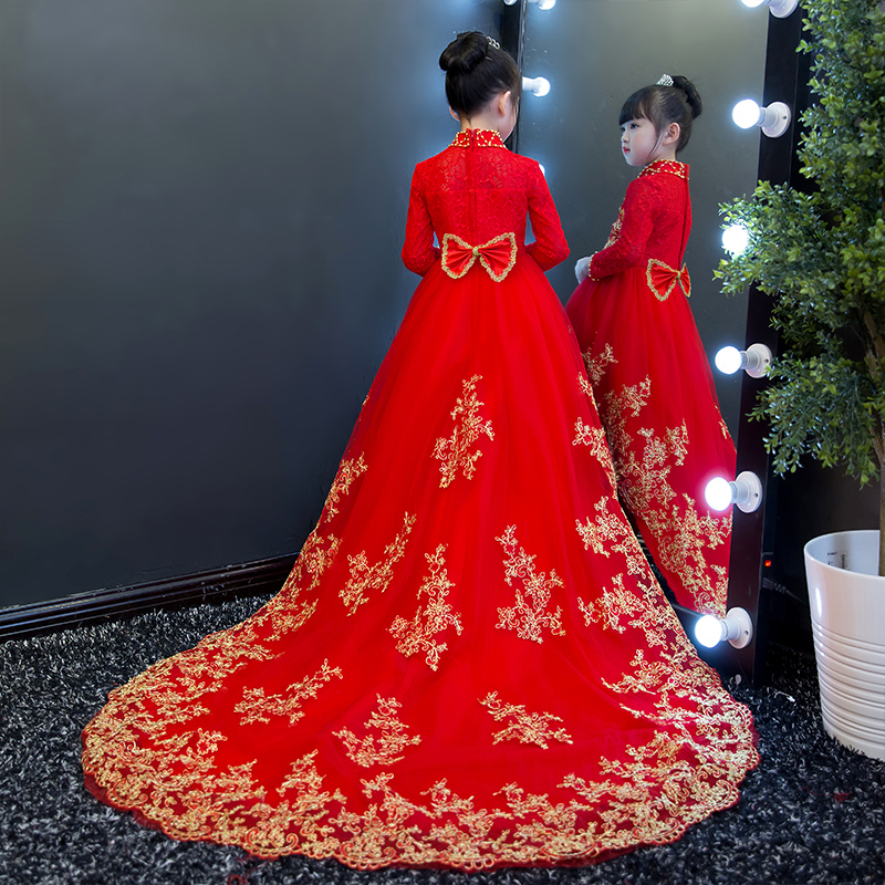 2017 New Luxury Children red Color lace short front long back trailing dress wedding big sequin bow birthday party wear dresses