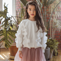 Girl Blouse Children Clothing Kid Girls Princess Ruffles T Shirt Student Costume for Big Girl Clothes Baby Long Sleeve Top 4 14Y