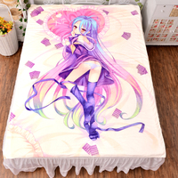 Anime No Game No Life Shiro Bed Bedding Sheet Sexy Bedsheet Manga 3d Fitted Carpet Duvet Covers Quilt Flannel Mattress