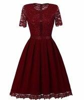 אופנה נשים עיצוב תחרה סיטונאי צוואר עגול שרוול קצר שמלת משרד גבירותיי התאמה אלגנטי אימפריה שמלה קלאסית צבע רגיל