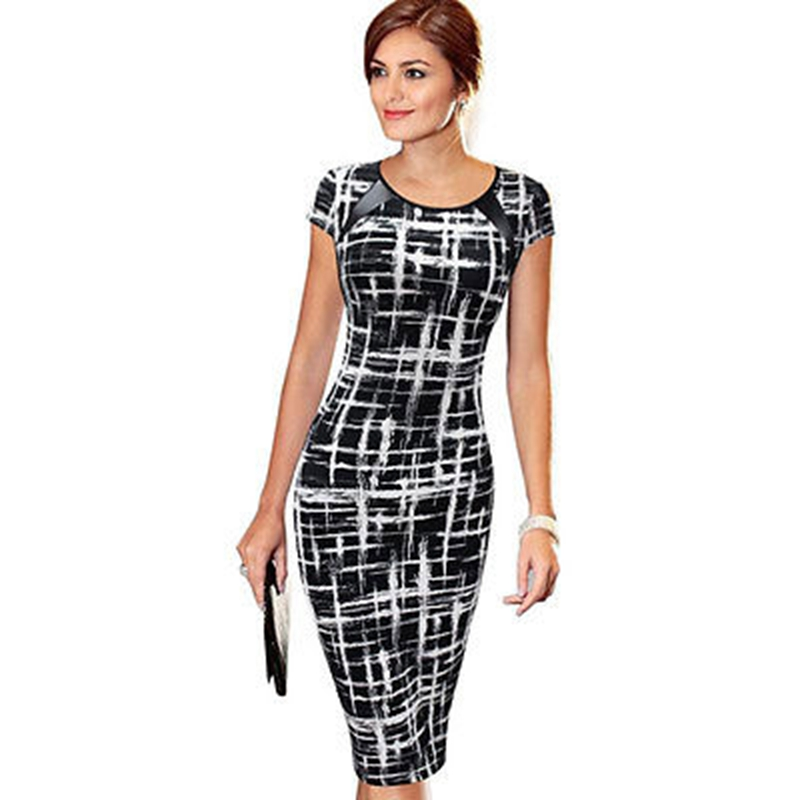 2018 Women New Fashion Office Lady Slim Short-Sleeve Print Dress Summer Casual Short Pencil Midi Dress Plus Size Hot short dresses office wear