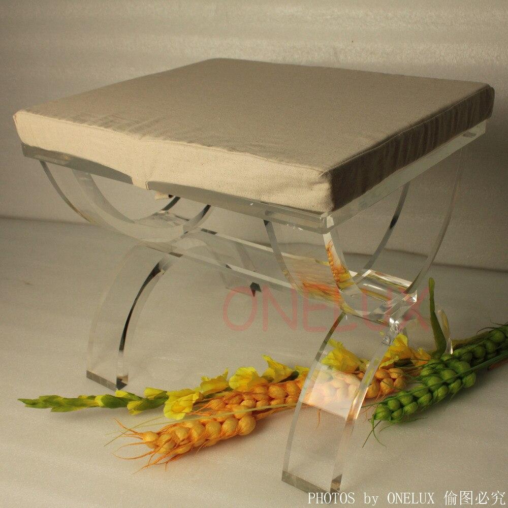 Крестоногий люцитовый туалетный табурет оттоманс, акриловый X-Based скамья для гостиной ONE LUX