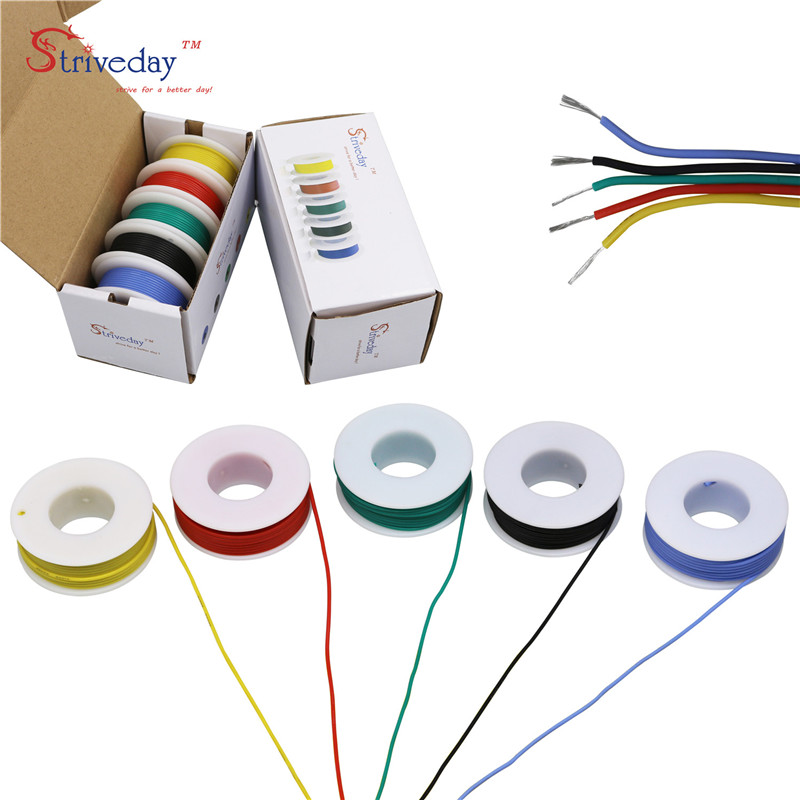 24AWG 30meters  5 color Mix box 1 box 2 package Flexible Silicone Cable Wire Tinned Copper stranded wire Electrical Wires DIY
