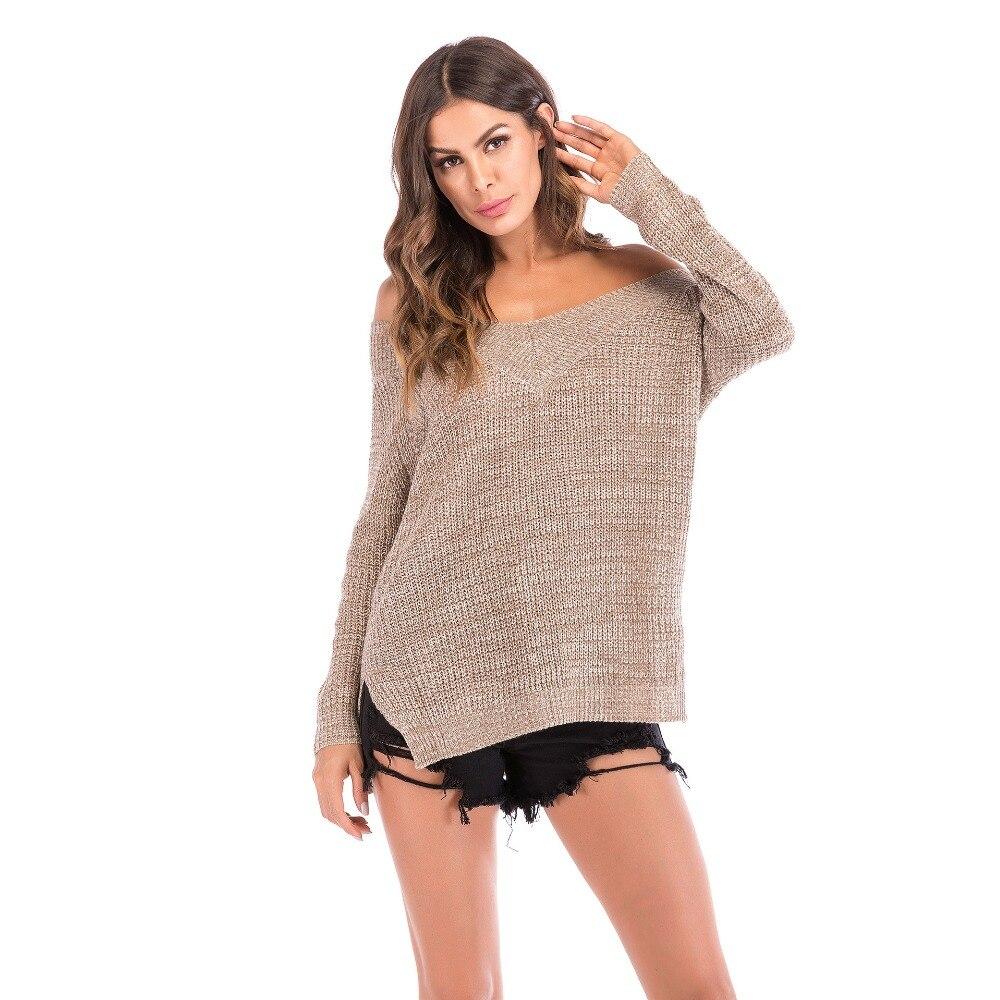2019 automne nouveau européen et américain femmes col en v hors épaule chandail à manches longues chemise femmes