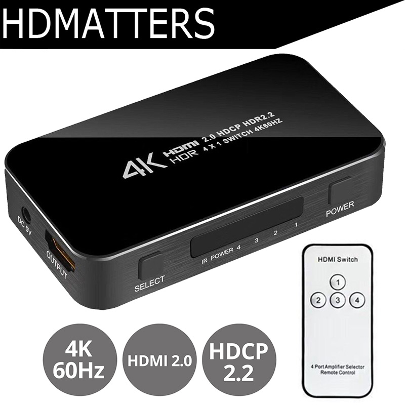 New UHD HDMI 2.0 Switch 4K Switcher HDMI 4 in 1 out 3840X2160P/60HZ HDCP 2.2 1080P for PS4 pro DVD Laptop PC mini 4 port 4x1 hdmi switch ultra hd 4k 60hz hdmi 2 0 hdcp 2 2 4 in 1 out switcher box with ir control for ps4 apple tv hdtv