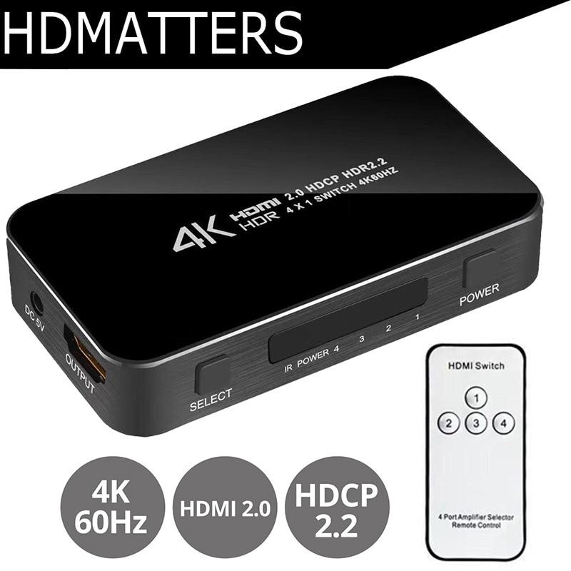 Nuovo UHD HDMI 2.0 Interruttore 4 k Switcher HDMI 4 in 1 out 3840X2160 p/60 hz HDCP 2.2 1080 p per PS4 pro DVD Del Computer Portatile Del PC