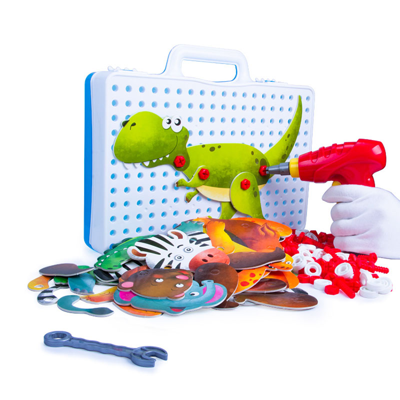 149/229Pcs Children Toys Kids Drill Screw Group Toys Electric Drill Screws Puzzle Assembled Mosaic Animal Buildings Creative Toy Игрушка