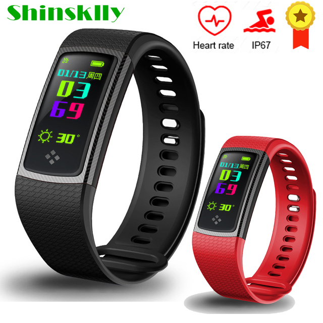 Shinsklly Smart Band S9 Color LCD Screen Fitness Bracelet IP67 Waterproof  SmartBand Heart Rate Monitor for IOS Android Phone -in Smart Wristbands  from