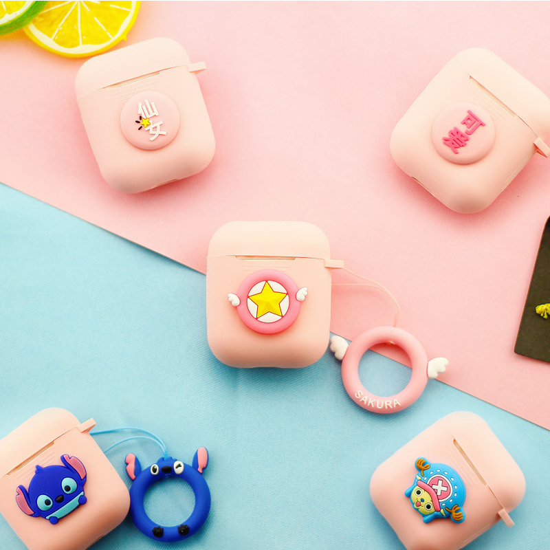 Soft Silicone Case For Apple Airpods Accessories Bluetooth Earphone Headphone Case Protective Cover Lovely Decoration with Strap