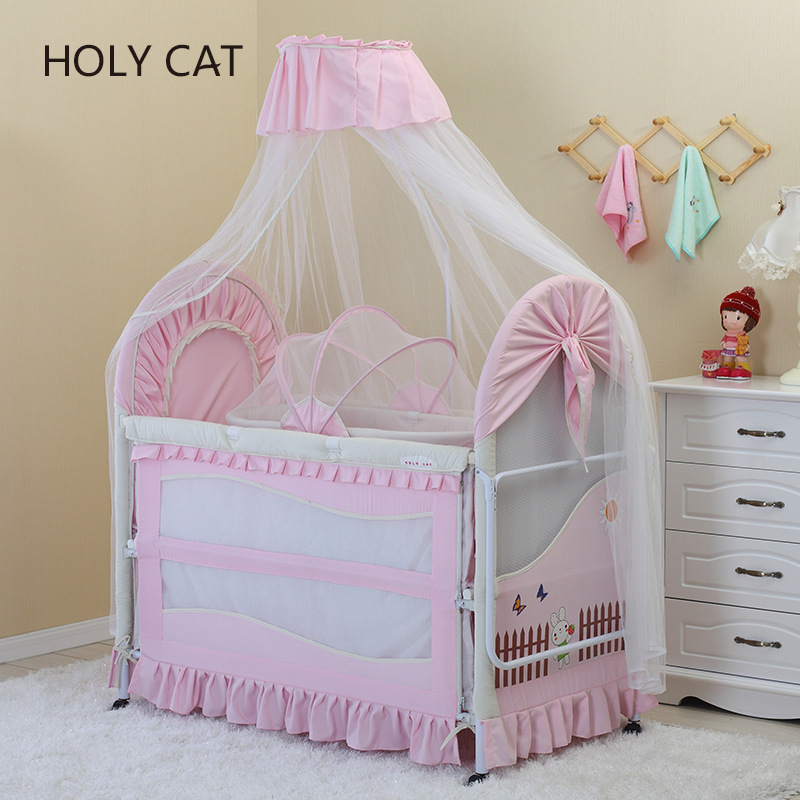 Holycat Korean Fabric Environmental Protection Baby Iron Bed, Children Bb Bed Extended Cradle Dc-2016Holycat Korean Fabric Environmental Protection Baby Iron Bed, Children Bb Bed Extended Cradle Dc-2016