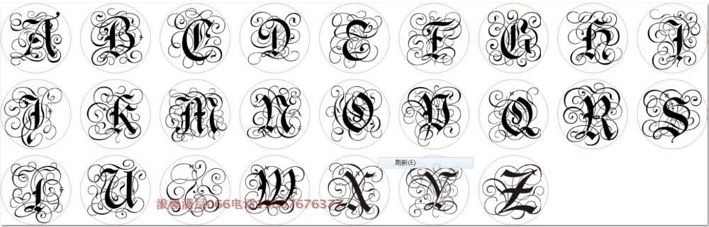 Wachssiegel Kupferkopf Curlicue Gothic 26 Buchstaben DIY Scrapbooking Vintage Wachs Siegelstempel Partyeinladung / Geschenksiegel einschließen