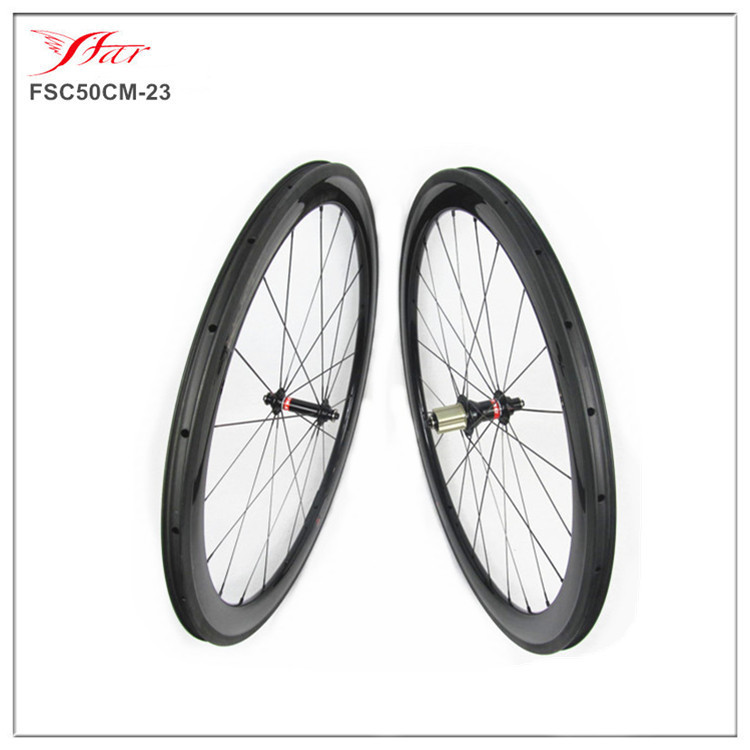 Far sports carbon wheels 50mm clincher 23mm wide with novatec hub and sapim spokes novatec carbon wheels ( FSC50CM-23U ) 700C far sports carbon wheels 50mm clincher 23mm wide with novatec hub and sapim spokes novatec carbon wheels fsc50cm 23 700c