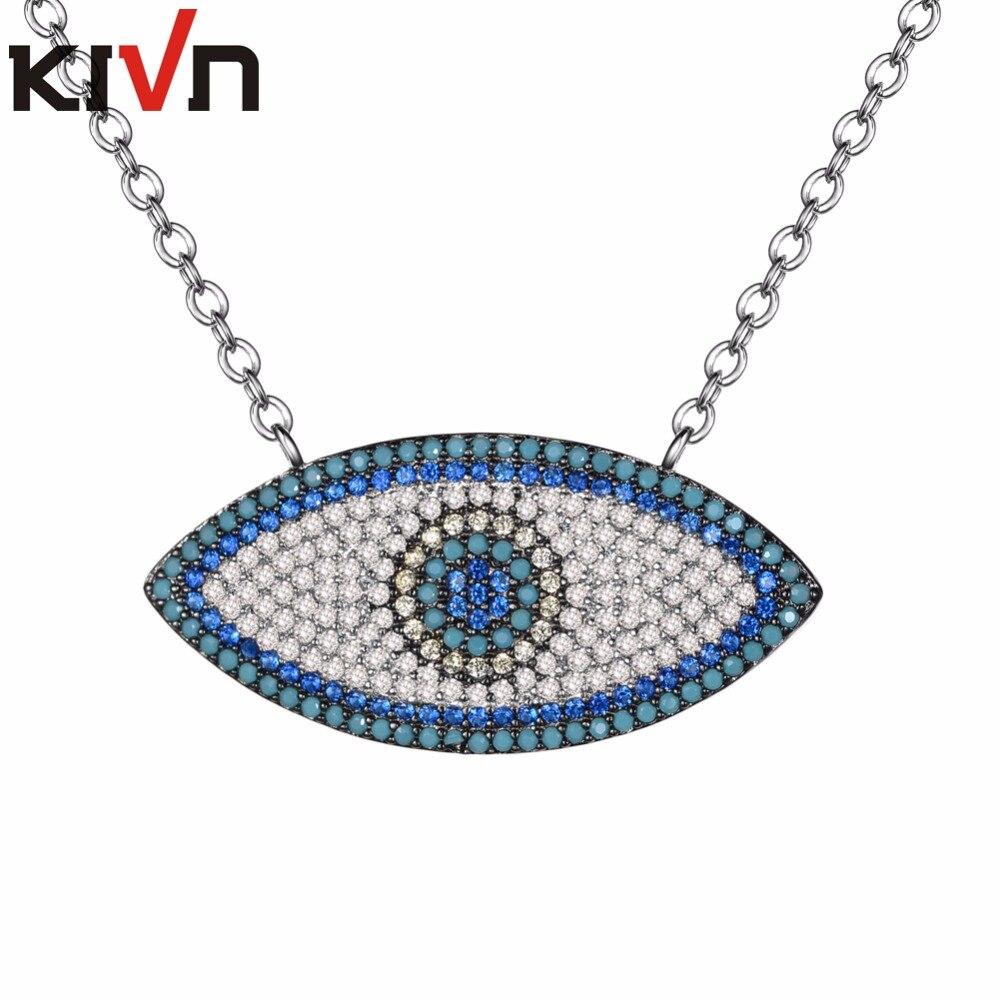 KIVN Jewelry Turkish Blue eye CZ Cubic Zirconia Womens Girls Bridal Wedding Pendant Necklaces Birthday Gifts 6pcs Lots Wholesale