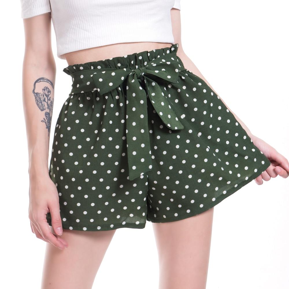 VISNXGI Hot Summer Casual Frill Trim Bow Shorts High Waist Short Fashion Lady Women Loose Wide Leg Printed Dots Shorts Female