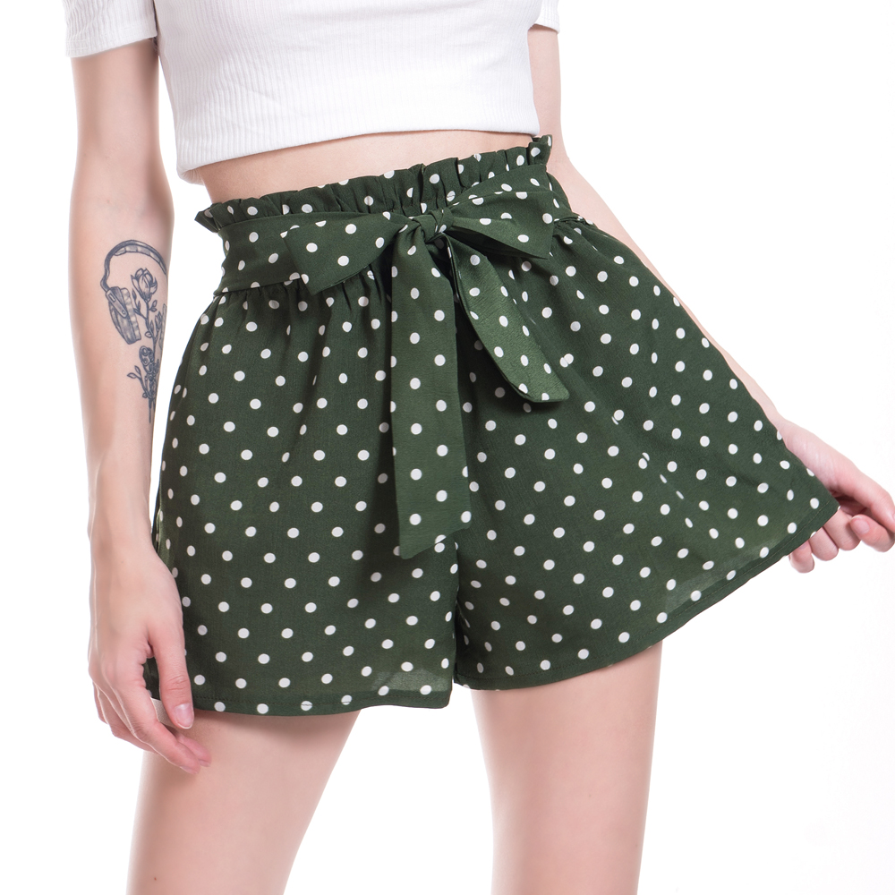 VISNXGI Hot Summer Casual Frill Trim Bow   Shorts   High Waist   Short   Fashion Lady Women Loose Wide Leg Printed Dots   Shorts   Female
