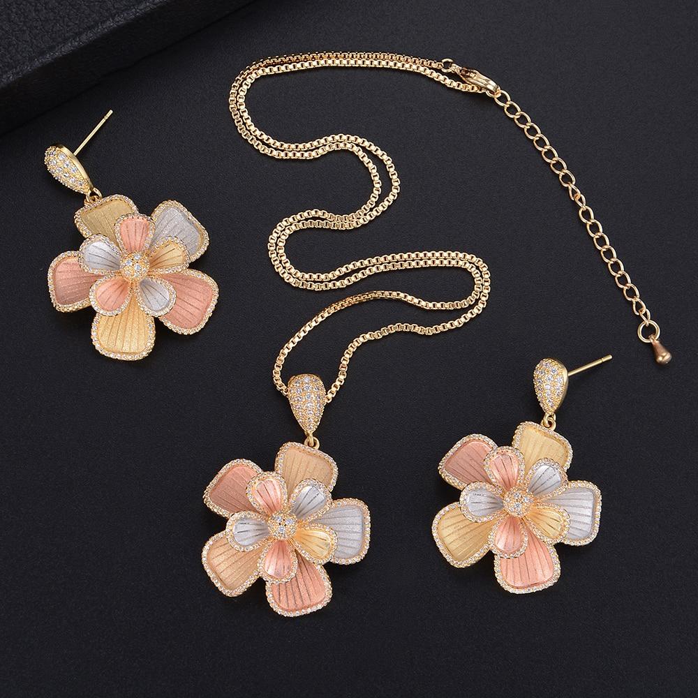 Missvikki Design Original grand pendentif fleur bijoux fins ensembles cristal brillant Vintage sculpté pour cadeau de fiançailles petite amie