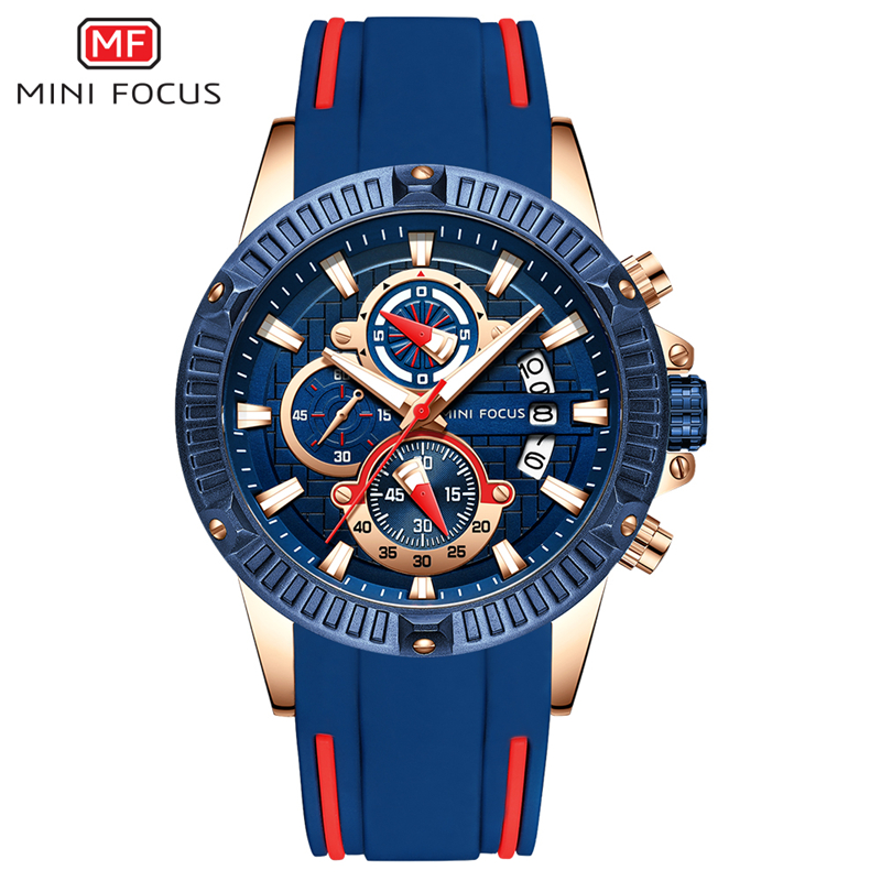 MINIFOCUS Sport Wrist Watch Men Luxury Waterproof Relogio Masculino Fashion Brand Military Men's Wristwatch Quartz Silicone Blue 2