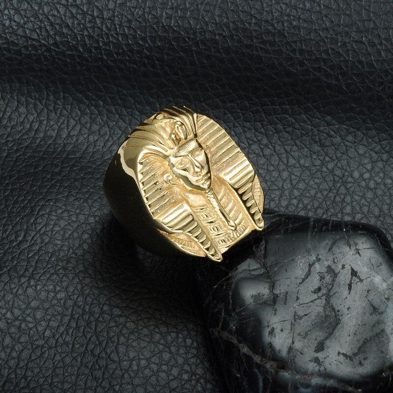 HIP Hop Gold Färg Mystiska Egyptiska Pharaoh Ringar Rock Titanium - Märkessmycken - Foto 4
