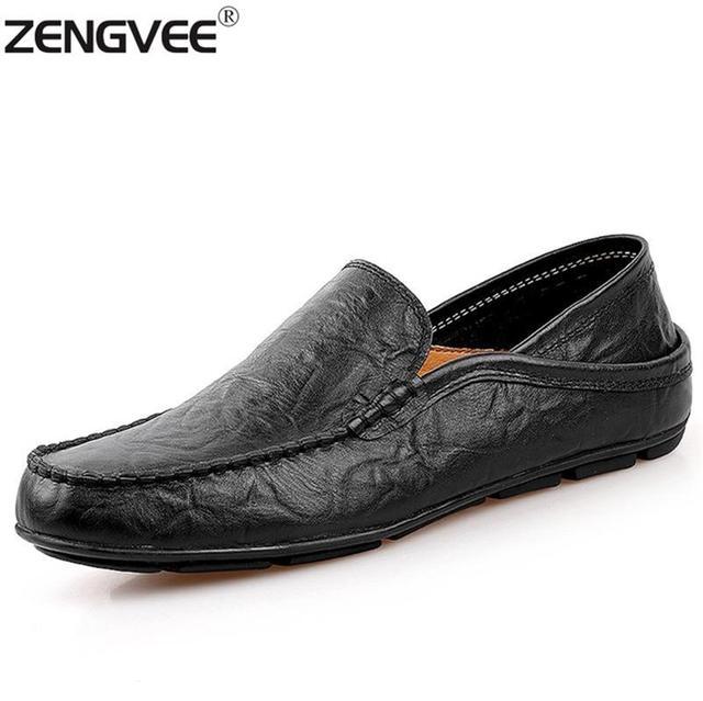 2017 de La Moda Británica de Cuero Genuino Zapatos Mocasines Hombres Zapatos Casuales Zapatos Cómodos Hombres de la Primavera Zapatos de Los Planos