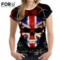 FORUDESIGNS Brand Skull Print Women T shirts Metallica Skull Print Heavy Metal Rock Hip Hop Clothing Black short Tshirt Harajuku