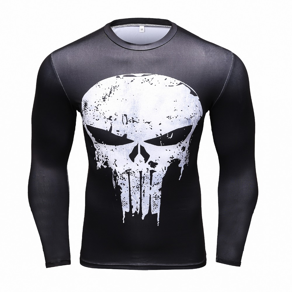 Punisher 3D Printed T-shirts Men Compression Shirts Long Sleeve Cosplay Costume crossfit fitness Clothing Tops Male Black Friday ...