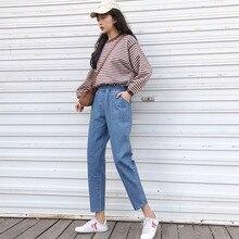 ddc13b8a9e0bd Harajuku الصيف الدنيم سراويلي حريمي كابري امرأة s-5xl زائد حجم تمتد عالية  الخصر طويل الجينز جيوب kpop فضفاض بنطلون أزرق
