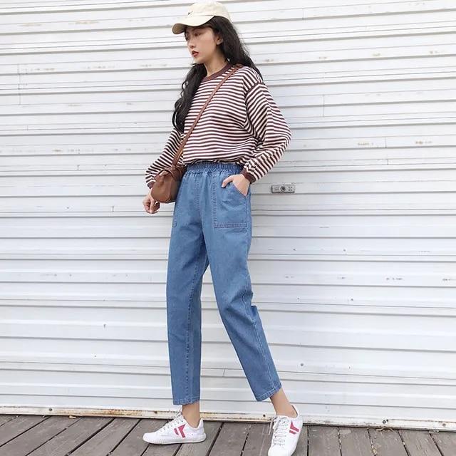 Harajuku summer denim harem pants capri woman S- 5XL plus size stretch high waist long jeans pockets kpop loose trousers blue