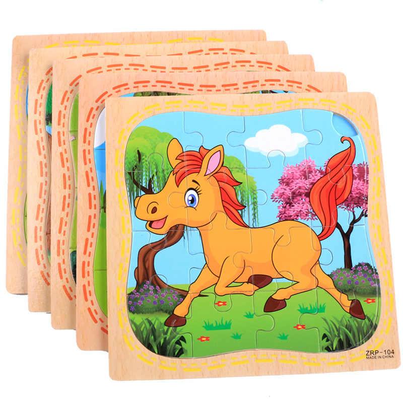 Educación para niños en preescolar, 16 piezas de animales de dibujos animados de madera/rompecabezas de transporte Montessori, juguetes cognitivos de educación temprana